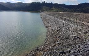 Mangatawhiri dam, about five meters below capacity