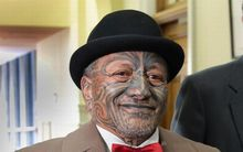 Veteran Tuhoe activist Tame Iti arrives for the final reading of legislation settling the iwi's claim.