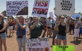 El Paso residents protest against the visit of US President Donald Trump to the city after a shooting that left a total of 22 people dead.