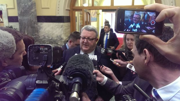 Gerry Brownlee speaking to media at Parliament on Thursday.