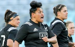 Te Kura Ngata-Aerengamate leads the Haka. Wallaroos v Black Ferns, Bledisloe doubleheader. Sydney, 18th August 2018.