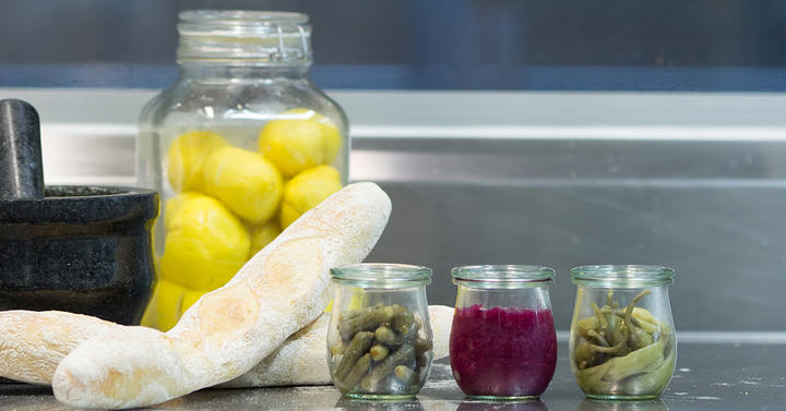 Preserved lemon, fermented red cabbage, cornichons and chilli