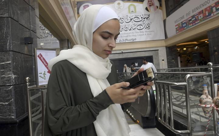 27-year-old Farah Talal in Mecca on August 7, 2019, prior to the start of the annual Hajj pilgrimage in the holy city. - Two hundred survivors and relatives of victims of March's massacres at two mosques in Christchurch, are undertaking the hajj pilgrimage