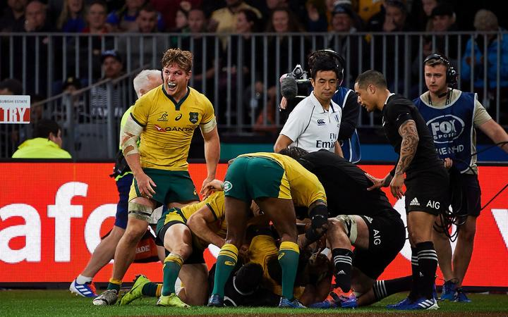 Michael Hooper of the Wallabies celebrates a Try during the 2019 Bledisloe Cup test match against the All Blacks.