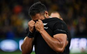 PERTH, AUSTRALIA - AUGUST 10: Patrick Tuipulotu of the All Blacks is dejected after the loss during the 2019 Bledisloe Cup test match between the New Zealand All Blacks and the Qantas Wallabies at Optus Stadium, August 10 2019 in Perth