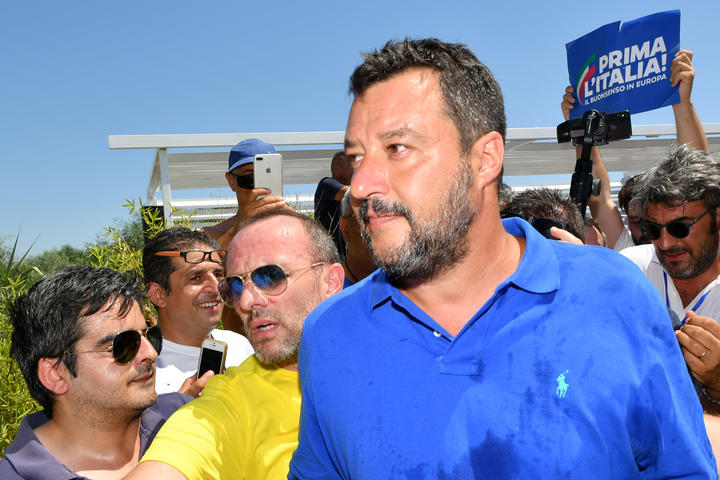 "Italy's Interior minister and deputy Prime Minister Matteo Salvini during his ""Italian Summer"" electoral tour this month."