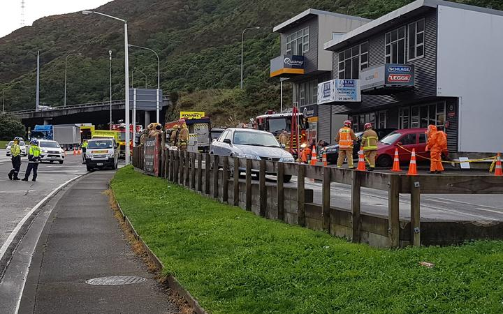 Emergency services at the site of the chemical spill in Wellington.