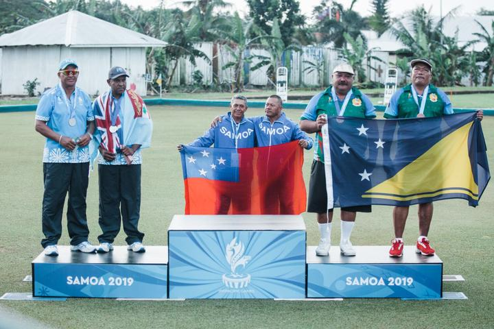 Sagato Avito and Konelio Luka won a bronze medal for Tokelau in the men's pairs.