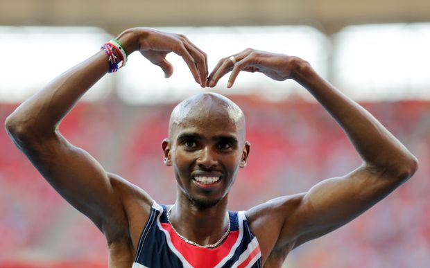Mo Farah of Great Britain celebrates after a