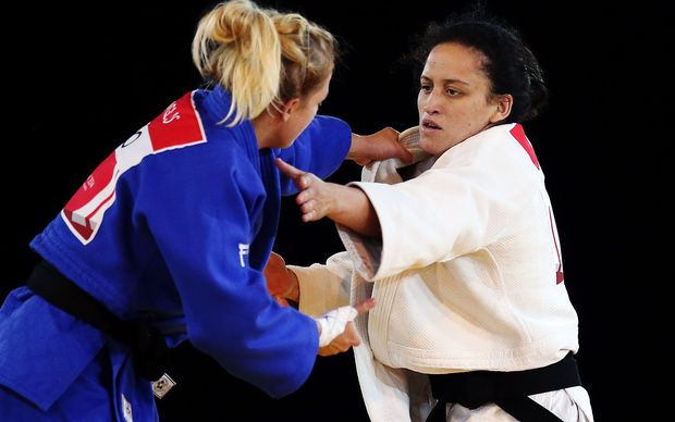 Darcina Manuel of New Zealand competes in the Womens -57kg Judo Quarter-finals. Glasgow 2014 Commonwealth Games.