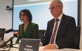 Departing Stats NZ chief executive Liz MacPherson with State Services Commissioner Peter Hughes