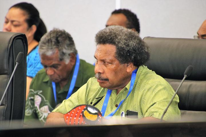 Papua New Guinea Foreign Minister Soroi Eoe attends a meeting in the lead up to the Pacific Islands Forum leaders summit in Tuvalu. August 2019