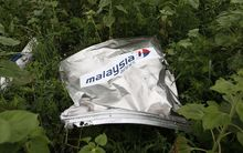 Debris from MH17 on the ground near the village of Rozsypne.