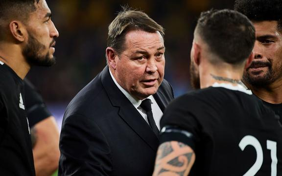 All Blacks coach Steve Hansen speaking to the team after the 2019 Bledisloe Cup match loss.
