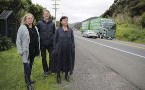 Kāpiti Coast Deputy Mayor Janet Holborow, NZTA regional transport systems manager Mark Owen and Paekākāriki community board member Holly Ewens at one of the traffic hotspots.