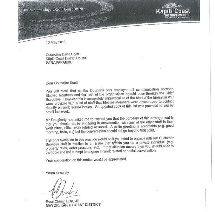 Former Kapiti mayor Ross Church's letter to David Scott in May 2016