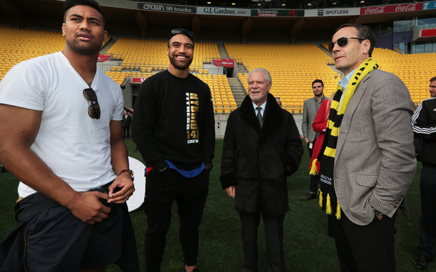 All Blacks Julian Savea, left, and Victor Vito with Westham owner David Gold and Phoenix co-owner Rob Morrison, right.