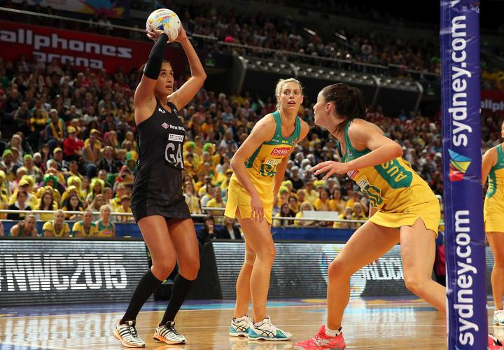 Former Australian defenders Laura Geitz (Middle) and Sharni Layton (Right) at the 2015 Netball World Cup