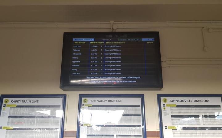 An electronic sign warns of delays after the power fault suspended some trains this morning.