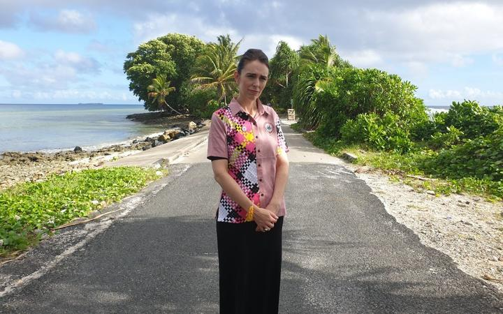 New Zealand Prime Minister Jacinda Ardern in Tuvalu for the Pacific Islands Forum, at the narrowest point on capital atoll Funafuti.