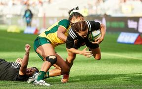 Selica Winiata of the Black Ferns dives over the line for a Try during the Rugby Test match between the New Zealand Black Ferns and the Wallaroos, Perth 2019.