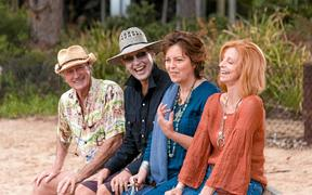 Bryan Brown, Richard E Grant, Greta Scacchi and Heather Mitchell in a scene from the movie Palm Beach. Supplied by Universal Pictures.