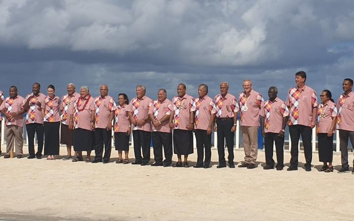 Leaders were all smiles as they posed in their matching coral shifts for the Pacific Islands Forum family photo at their summit in Tuvalu in 2019.