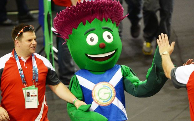 A mascot joins the track cycling at the 2014 Commonwealth Games in Glasgow.
