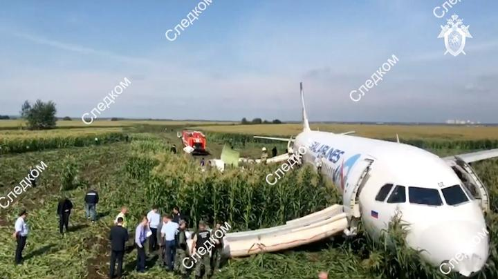 In this handout video grab released by Russian Investigative Committee, the Airbus A321, which made a hard landing in a corn field near Zhukovsky International Airport, is pictured in Moscow region, Russia.