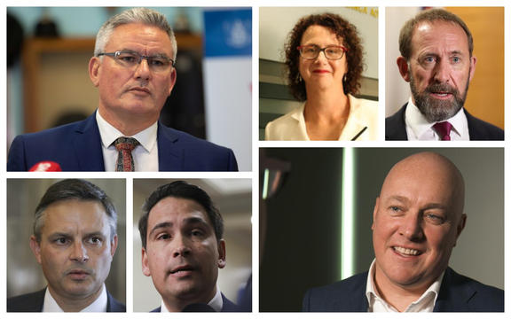 Kelvin Davis, Liz MacPherson, Andrew Little, James Shaw, Simon Bridges, and Chris Luxon