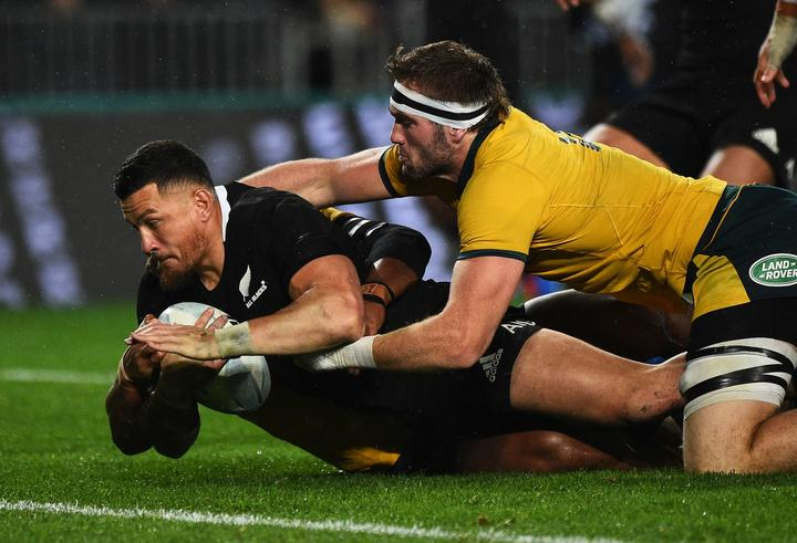 All Blacks player Sonny Bill Williams goes in for a try during the 2nd Bledisloe Cup Rugby game. All Blacks v Australia. Auckland, New Zealand. Saturday 17 August 2019.