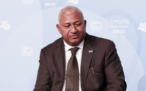 Fiji Prime Minister Voreqe Bainimarama at the COP23 Fiji conference in Bonn, Germany on the 12th of November 2017. COP23 if organized by UN Framework Convention for Climate Change. Fiji holds presidency over this meeting in Bonn. (Photo by Dominika Zarzycka/NurPhoto)