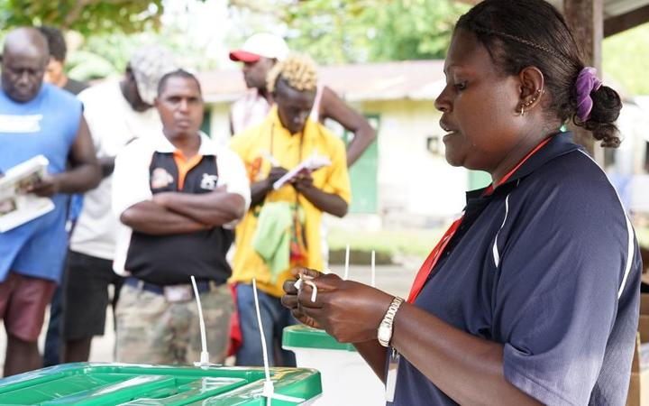 An election official in Bougainville.