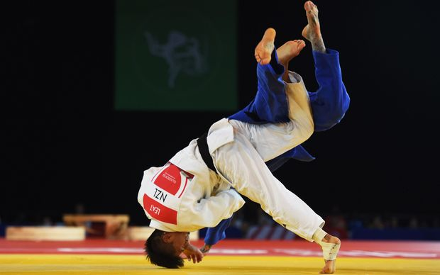 New Zealand's Adrian Leat who won the silver medal during his 73kg Judo Final against against England's Danny Williams. Commonwealth Games. Glasgow. July 2014.
