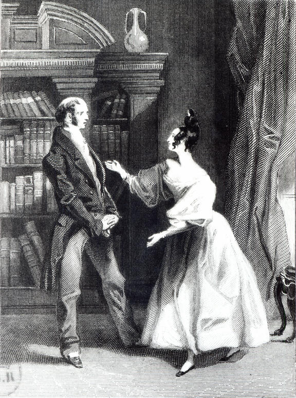 'She then told him what Mr Darcy had voluntarily done for Lydia. He heard her with astonishment', illustration from 'Pride and Prejudice' by Jane Austen (1775-1817) engraved by William Greatbach (b.1802) 1833 (b/w photo) by Pickering, George (c.1794-1857); Bibliotheque Nationale, Paris, France.