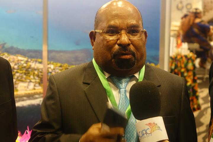 Papua province's Governor Lukas Enembe at Indonesia's Pacific Expo event in Auckland, July 2019