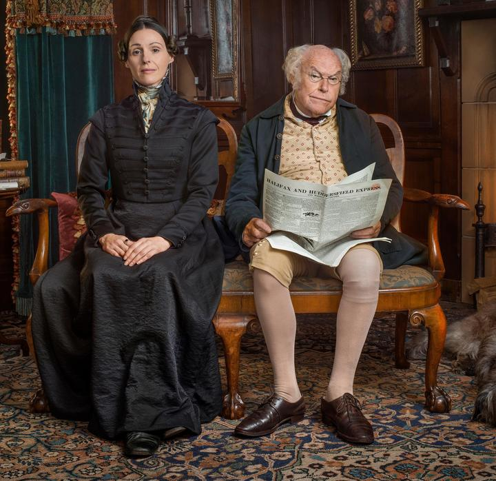Suranne Jones as Anne Lister and Timothy West as her father Jeremy in Gentleman Jack.