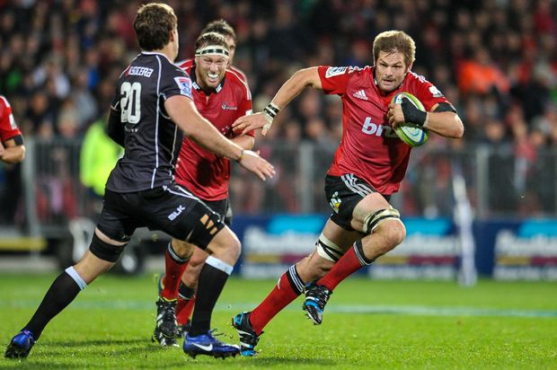 Richie McCaw makes a break during the Crusaders' loss to the Sharks in May 2014