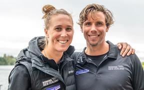 New Zealand single scull rowers Emma Twigg and Robbie Manson.
