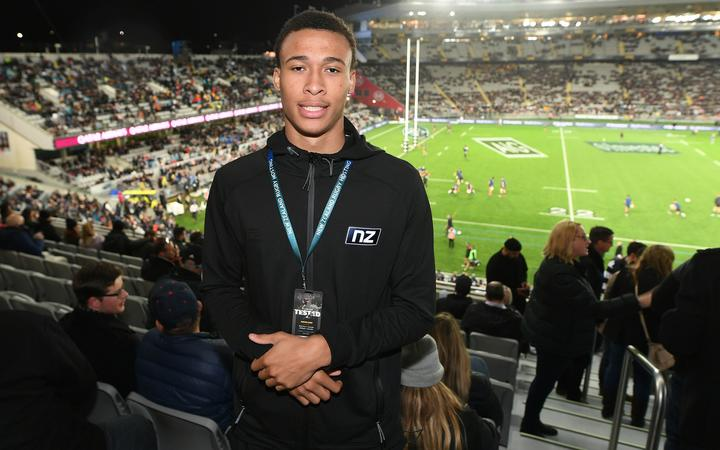 Breakers import RJ Hampton at the Bledisloe Cup match at Eden Park.
