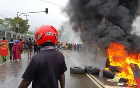 Protesters burned tyres during demonstrations in Manokwari on 19 August, 2019.