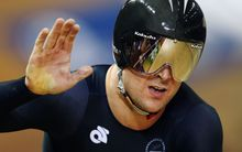 Simon van Velthooven of New Zealand wins silver in the Mens 1000m Time Trial.  Glasgow 2014 Commonwealth Games.