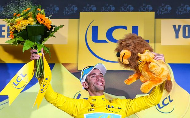 Vincenzo Nibali on the podium after winning stage two of the Tour, 2014.