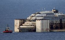 The refloated wreck of the Costa Concordia.