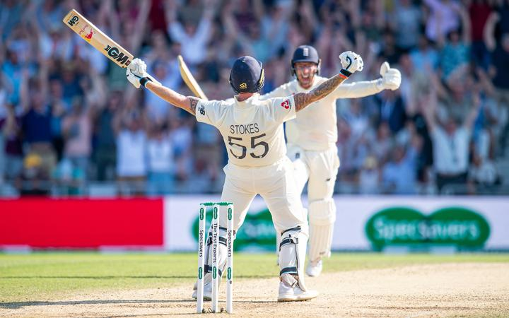 Ben Stokes and Jack Leach celebrate their Ashes heroics.