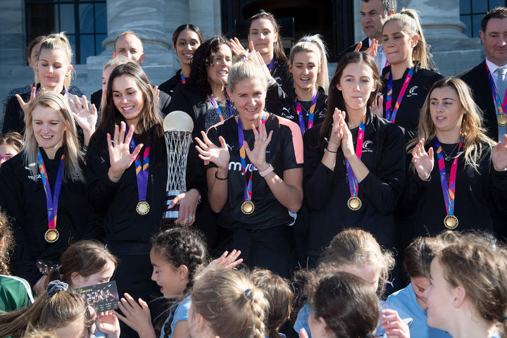 The Silver Ferns with School children during a Netball World Cup celebration at Parliament in Wellington on Monday the 26th of August 2019. Copyright Photo by Marty Melville / www.Photosport.nz