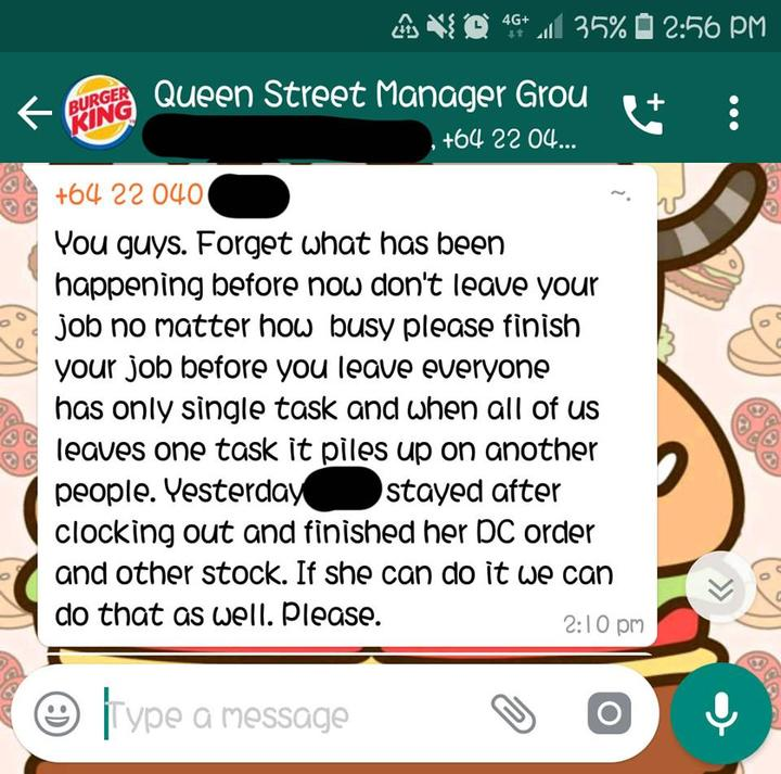 Burger King manager suggests staff work after clocking out