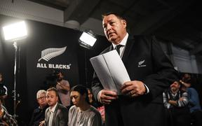 Coach Steve Hansen during the All Blacks 2019 Rugby World Cup squad announcment.
