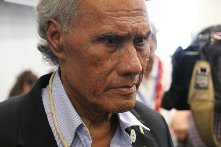 The Tongan prime minister, 'Akilisi Pohiva, at the 2019 Pacific Islands Forum summit in Tuvalu.