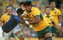 Will Skelton on the charge for the Wallabies against France, 2014.
